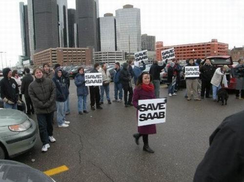 呼吁拯救萨博! 萨博车迷通用总部集会