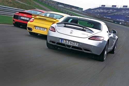 奔驰SLS AMG保时捷911Turbo奥迪R8对比