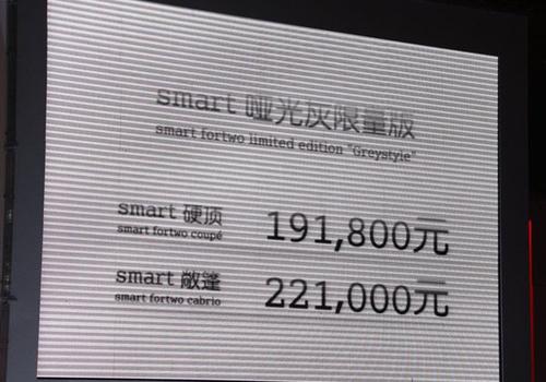 售19.18-22.1万 smart哑光灰限量版上市