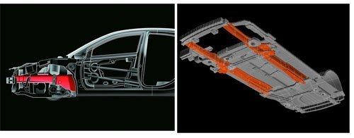 〖图为凯美瑞针对结构强度所新增的八角形断面车头大梁及直线式车体