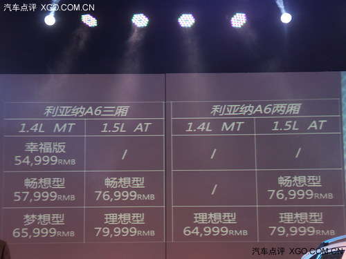 5.4999万起售 昌河铃木新利亚纳A6上市