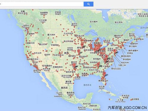 对比一下美国的情况,在谷歌地图上看密密麻麻