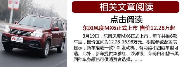 东风风度MX6增全能版车型 搭CVT变速箱