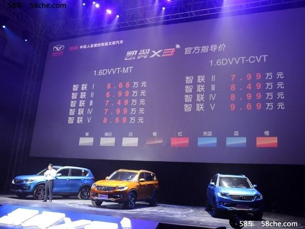 凯翼X3 SUV正式上市 售价6.66-9.69万元
