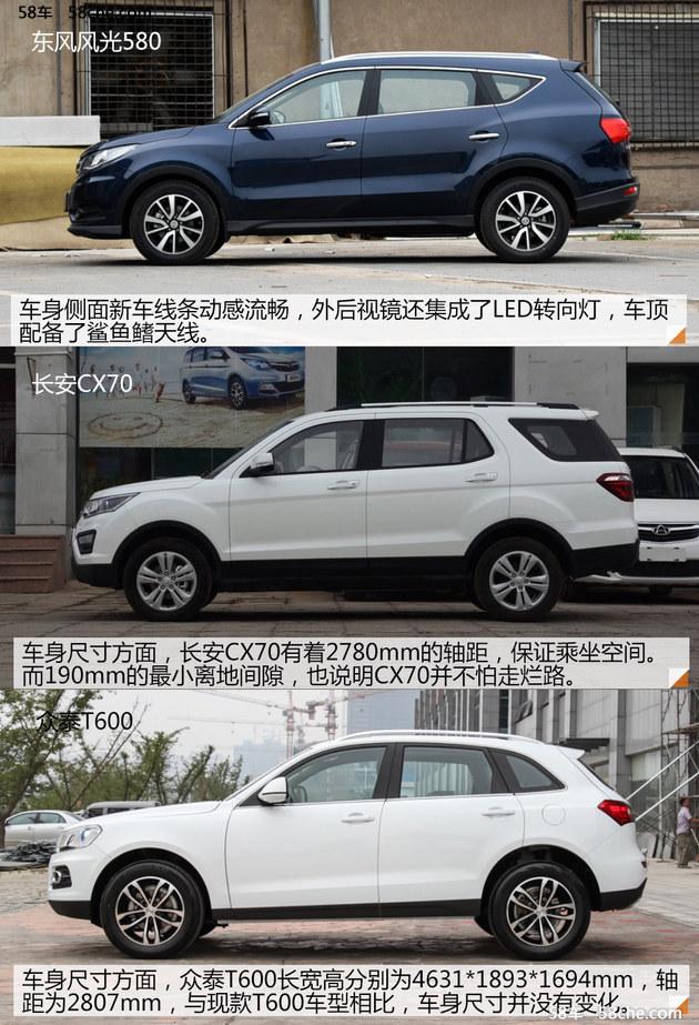 自主品牌的对决 对比风光580/CX70/T600