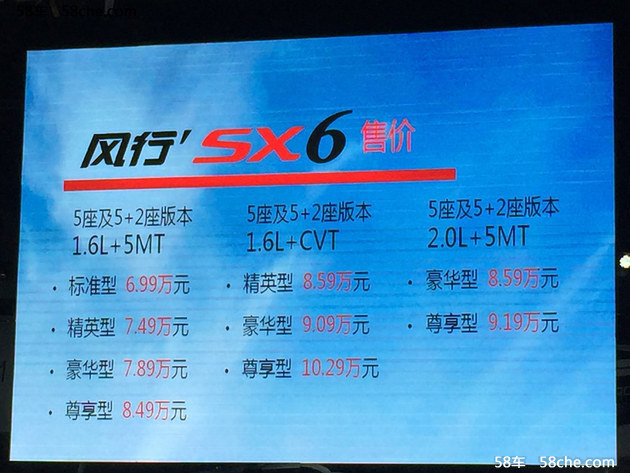2016成都车展 东风风行SX6上市6.99万起