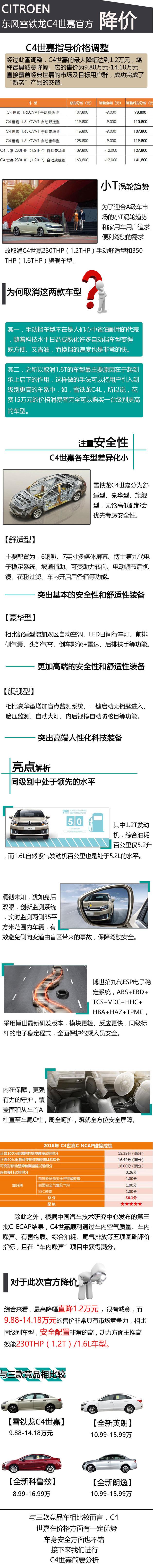 C4世嘉官降/取消2款车 售9.88-14.18万