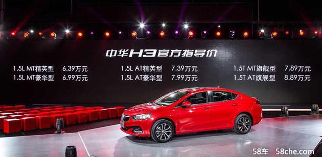 华晨中华H3正式上市 售价6.39-8.89万元