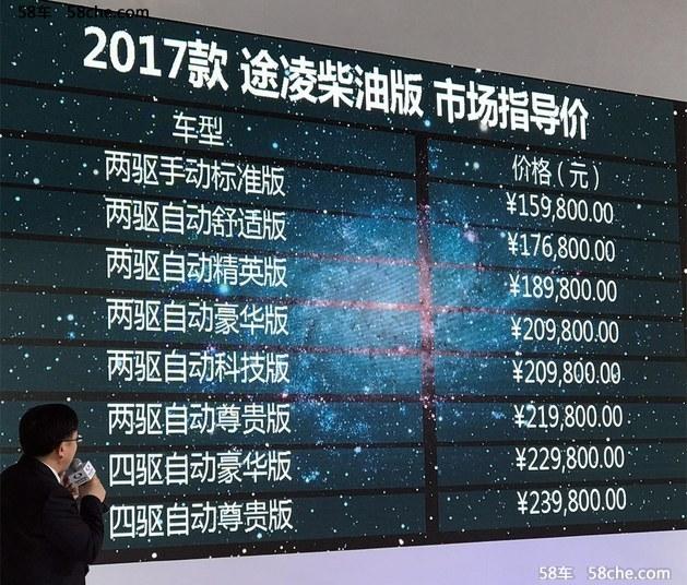 2017上海车展 途凌柴油版售15.98万元起