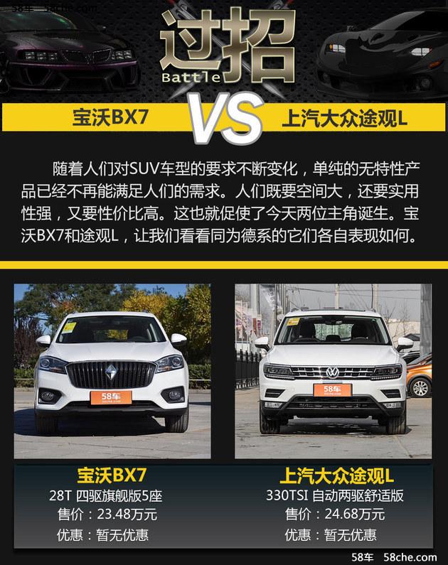 宝沃BX7过招途观L 中型SUV谁更具性价比