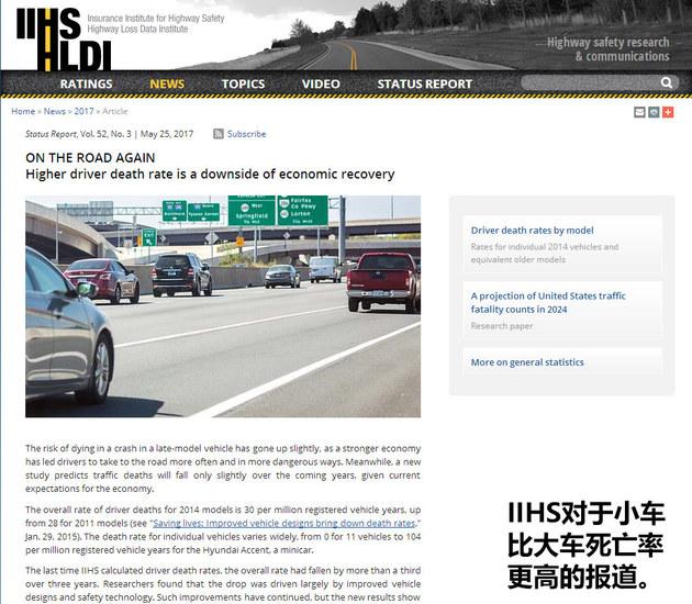 数据不会说谎 小车事故死亡率比大车更高