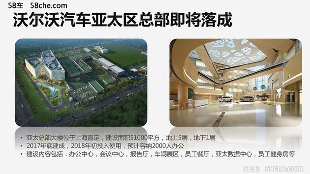 首先说我们国内的生产基地布局,也是沃尔沃汽车的另一个大动作,就是位于上海嘉定的沃尔沃汽车亚太区总部将于今年底建成,沃尔沃汽车亚太区总部紧邻沃尔沃汽车中国研发总部大楼,总投资约为17亿元,建设面积5.1万平方米,地上5层,地下1层,计划今年年底建成,明年初投入使用,建设内容包括办公中心、会议中心、报告厅、车辆展示区、员工餐厅、亚太数据中心、员工健身房等,预计可容纳2000人办公,落成之后之后的亚太区总部也将成为沃尔沃汽车在亚太地区销售、研发、采购和生产的中心,为沃尔沃汽车中国的发展铺垫更好的格局。