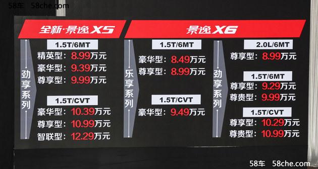 景逸X5 1.5T车型上市 售8.99-12.29万元
