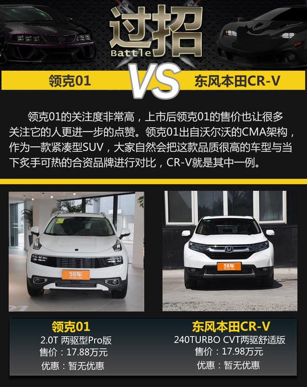 自主高端攻擂 领克01过招东风本田CR-V