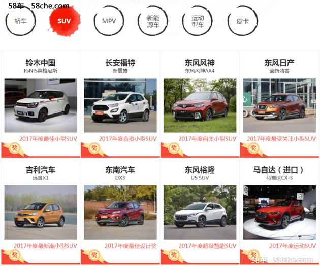 2017年度车型出炉  58车揭晓年终成绩单