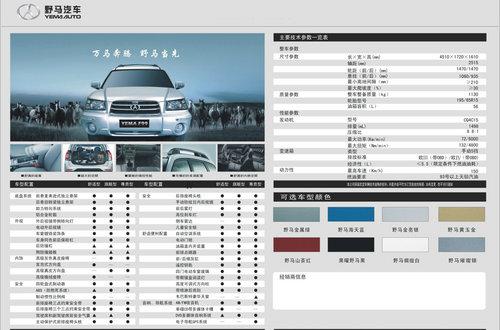 最低不到6万的SUV 川汽野马F99已上市