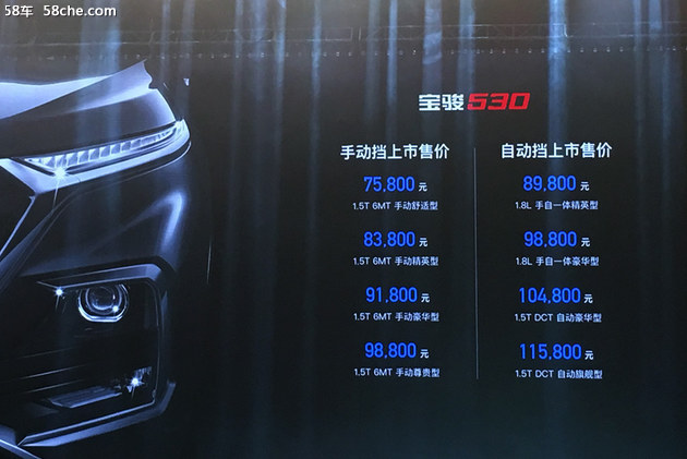 宝骏530正式上市 售价XX.XX-XX.XX万元