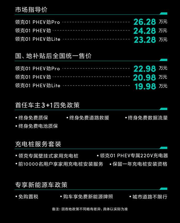 领克01 PHEV上市 补贴后售19.98-22.98万