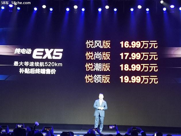 北汽新能源EX5正式上市 售价XX-XX万元