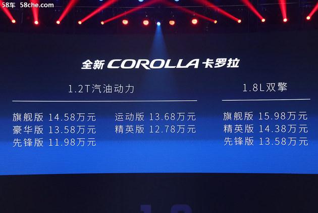 58秒看懂丰田全新一代卡罗拉 11.98万起
