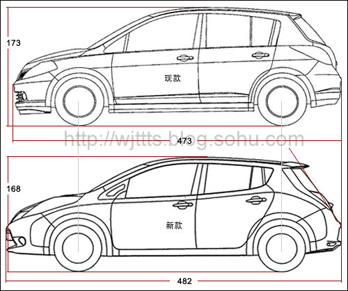 车身尺寸将加长 改款日产骐达线图曝光