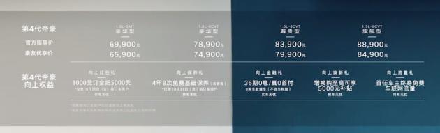 售价6.99-8.89万元 吉利第4代帝豪正式上市