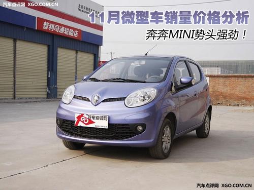 奔奔MINI势头强劲 11月微型车销量排行