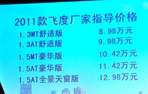 售价8.98-12.98万 2011款飞度正式上市
