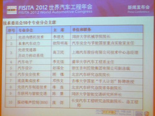 2012世界汽车工程年会在京召开发布会