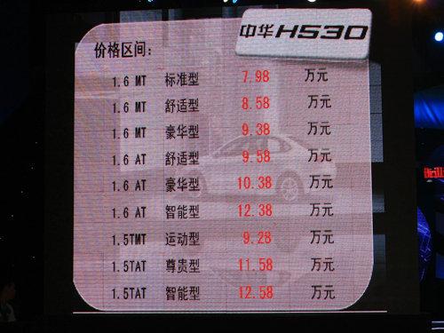 售价7.98-12.58万元 中华H530正式上市
