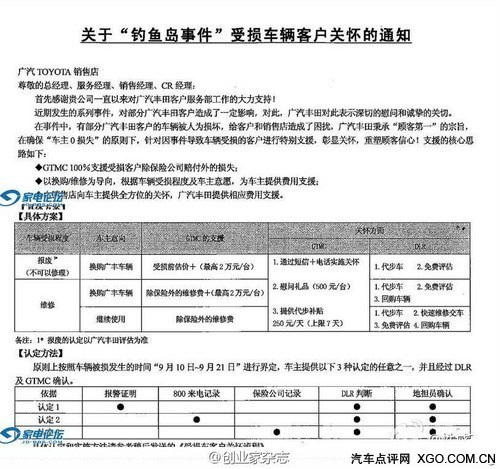 广汽丰田率先出台被砸日系车补偿方案