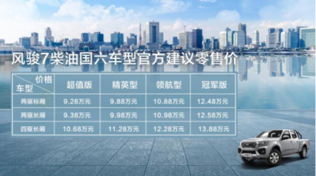 9.28万起,长城风骏7柴油国六广东上市